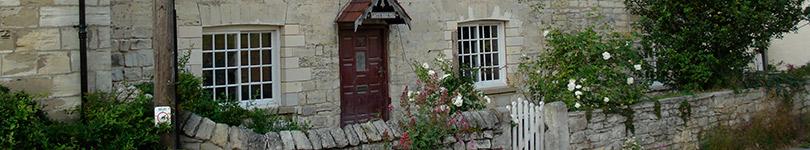 cottage with machine drawn glass
